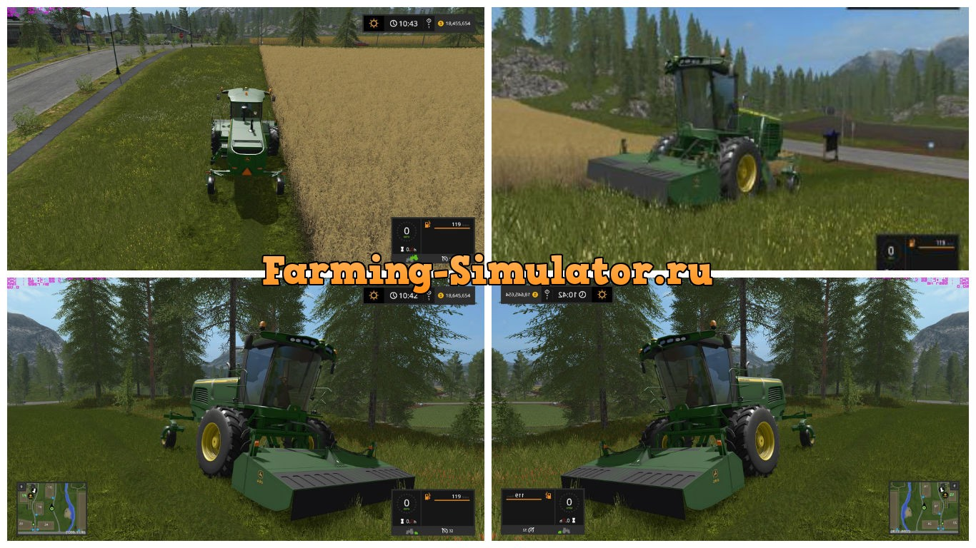 Мод JOHN DEERE W260 WINDROWER V1.1 Farming Simulator 17