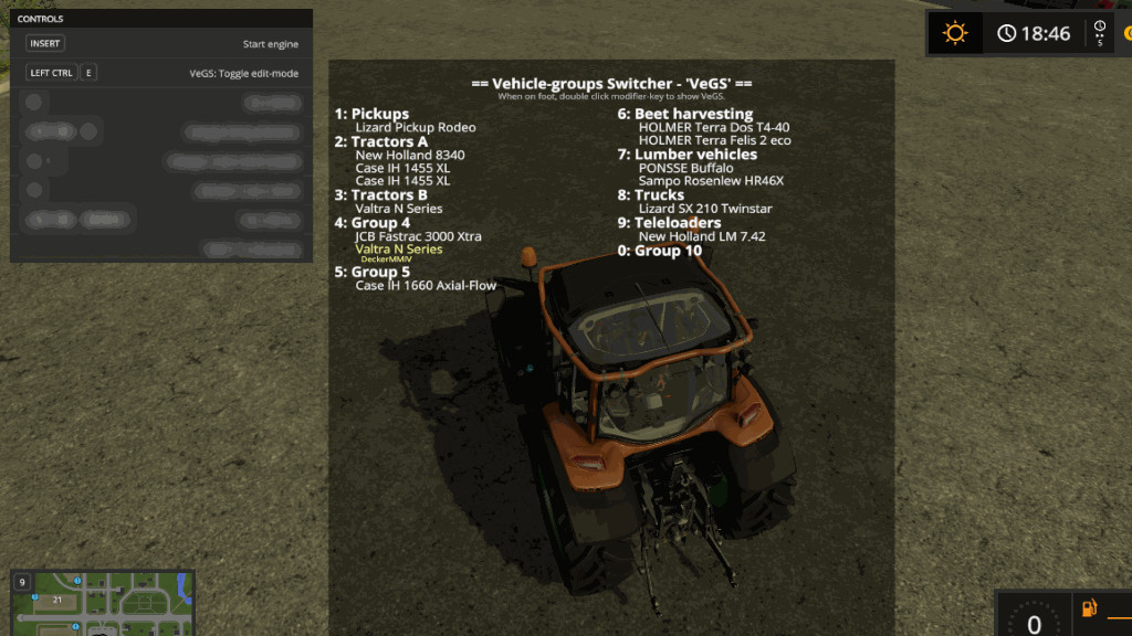Мод cкрипт Vehicle Groups Switcher Version 1.0.1.17 Farming Simulator 17