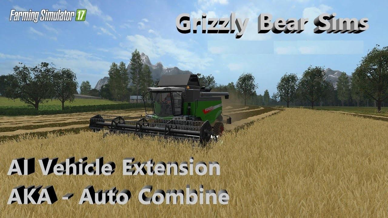Мод скрипт Автокомбайн и Автотрактор AI Vehicle Extension v 0.2.0.6 Farming Simulator 17