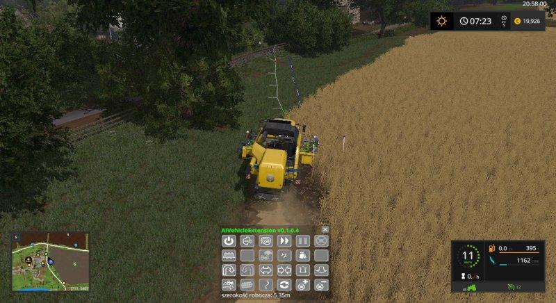 Мод скрипт Автокомбайн AI Vehicle Extension v 0.1.0.4 Farming Simulator 2017