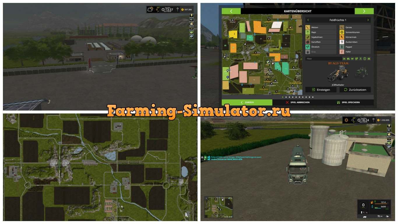 Мод карта Land between the mountains V 1.3 Farming Simulator 17