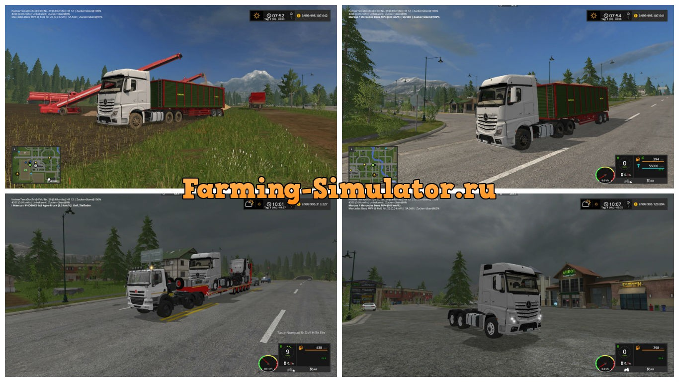 Мод тягач Mercedes Benz Actros MP4 v 1.1.1 Farming Simulator 2017