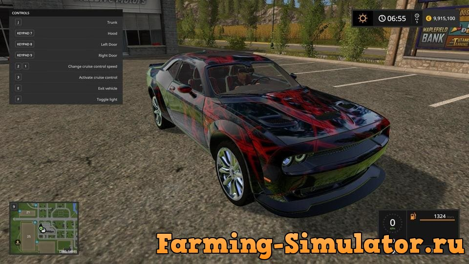 Мод авто Dodge Challenger Red Neon v1.0 FS17