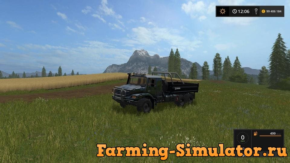 Мод грузовик ZETROS 3643 BLACK V3.1 Farming Simulator 17