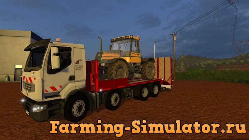 Мод грузовик RENAULT LOW LOADER TRUCK WITH FOLDING RAMPS V1.0.0.1 FS17