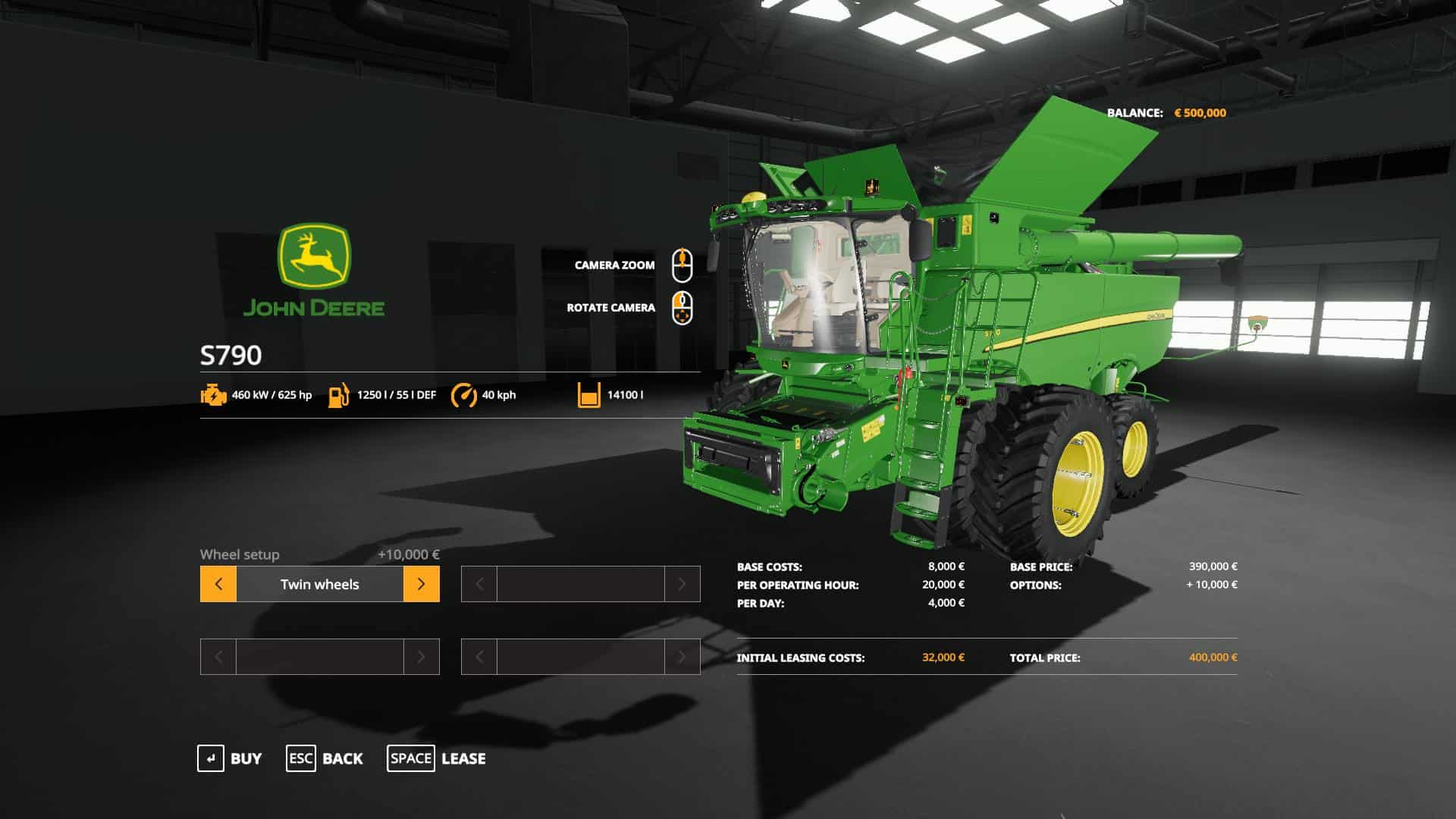 Мод комбайн John Deere S790 with SeatCam v1.0.0.0 Farming Simulator 19