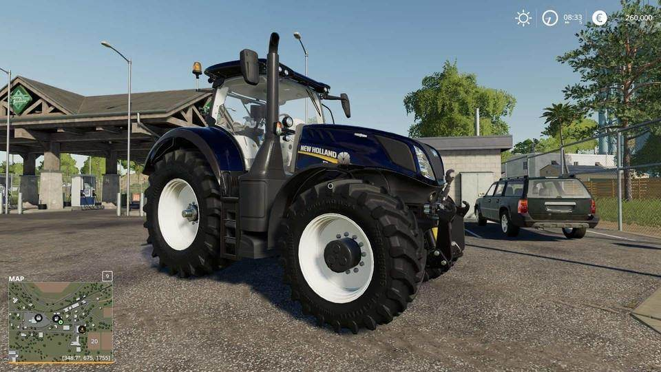 Мод трактор New Holland T7 Blue Chrome Power v1.0 Farming Simulator 19