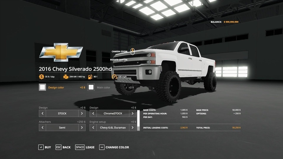 Мод авто 2016 CHEVY 2500HD DURAMAX V1.2 Farming Simulator 19