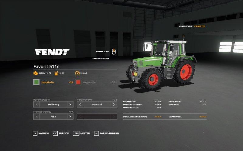 Мод трактор FENDT FAVORIT 511C - 515C V1.0 FS19