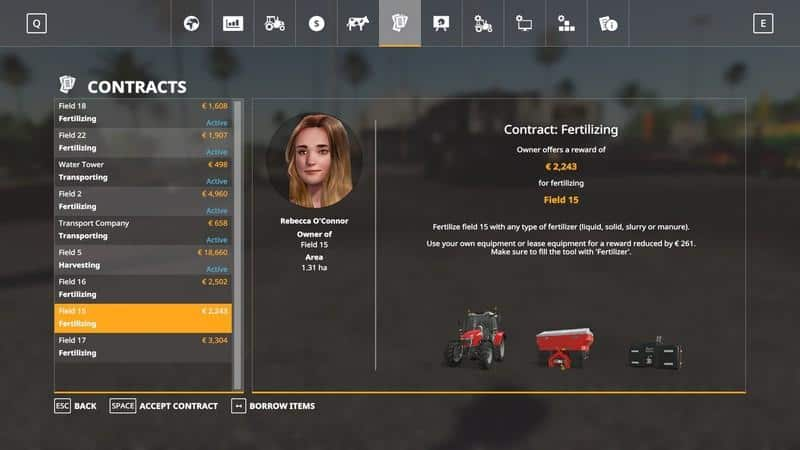 Мод скрипт Multiple Contracts v1.0 Farming Simulator 19