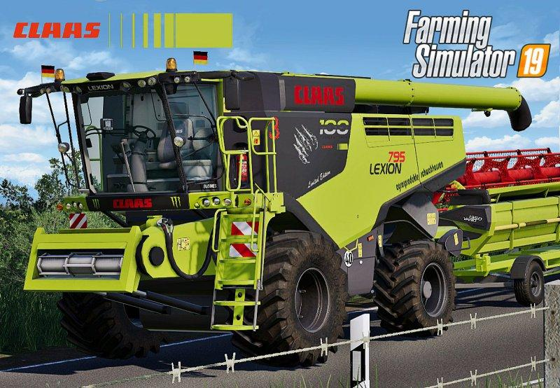 Мод комбайн Claas Lexion 795 Monster Limited Edition v1.0.0.0 FS19