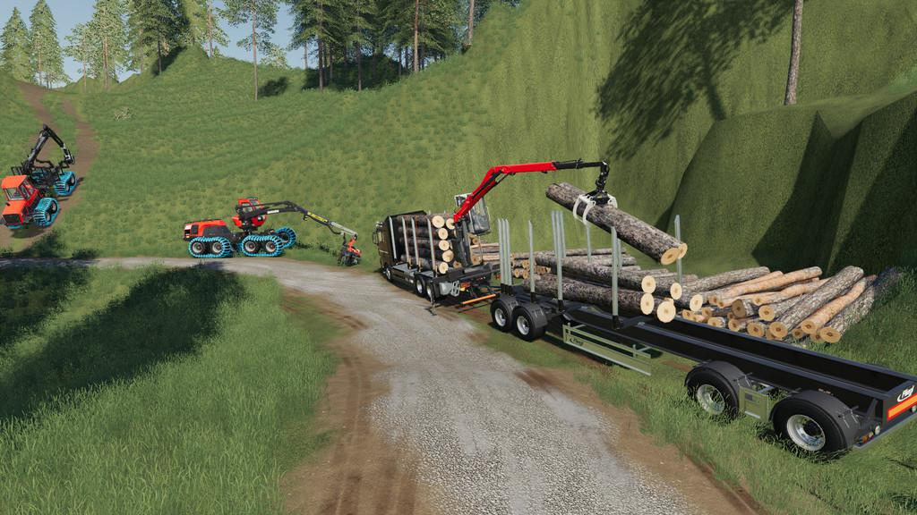 Мод прицеп Fliegl Log Trailer v1.0.0.0 Farming Simulator 2019