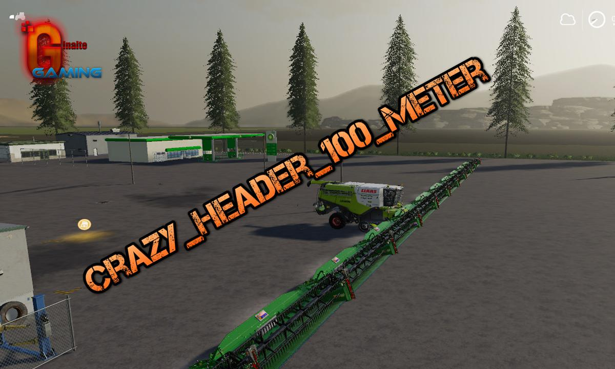 Мод жатка Crazy Header 100 Meter v1.0 Farming Simulator 2019