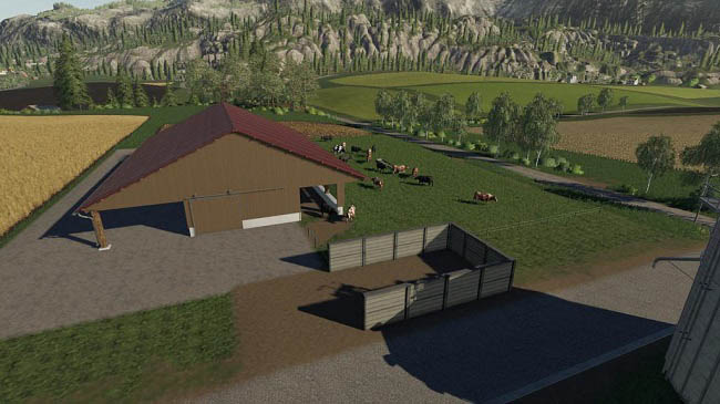 Мод коровник Cowshed with a big willow v1.0 FS19