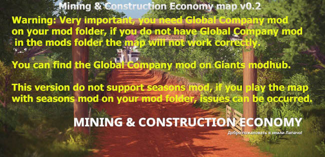 Мод карта Mining & Construction Economy map v0.2 FS19